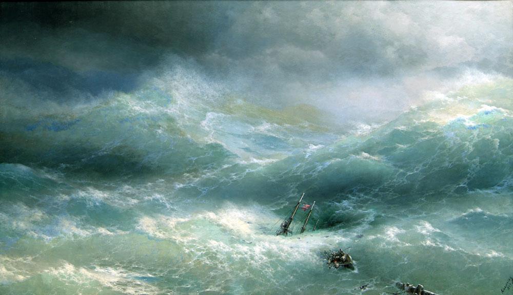 Aivazovsky Fırtınada Kazazedeler, Tarih: 1889, Orijinal Boyut: 304 x 505 cm, Yer: Russian Museum, St. Petersburg