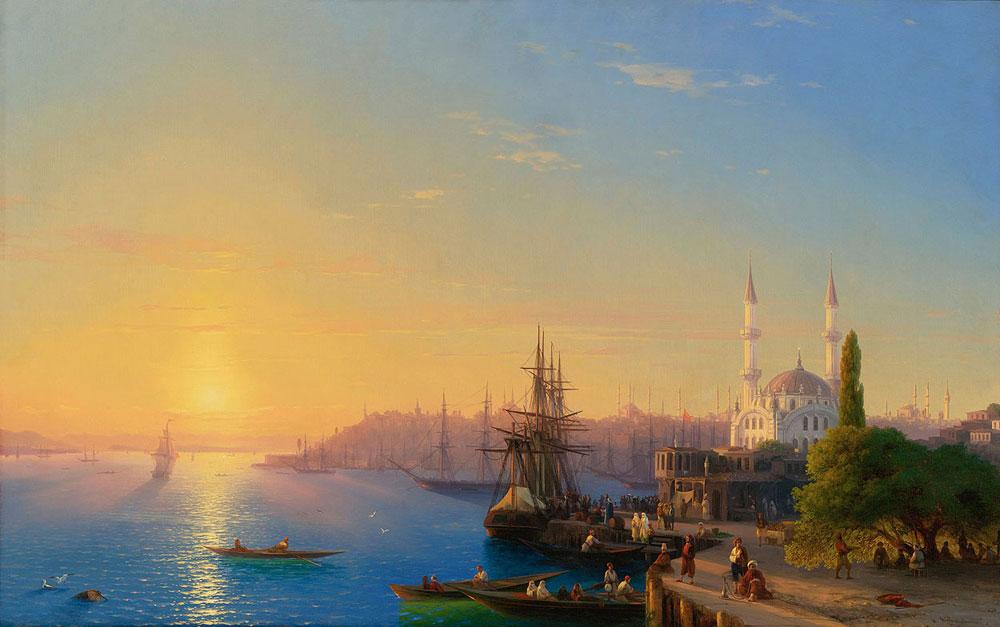 Aivazovsky Günbatımında Ortaköyden Istanbul, Tarih: 1856, Orijinal Boyut: 125 x 195 cm