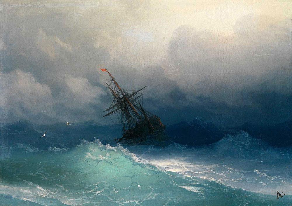 Aivazovsky Fırtınalı Denizde Gemi