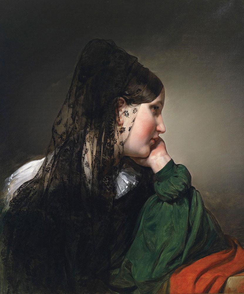 Siyah Eşarplı Kadın, Tarih: 1887, Orijinal Boyut: 72 x 61 cm