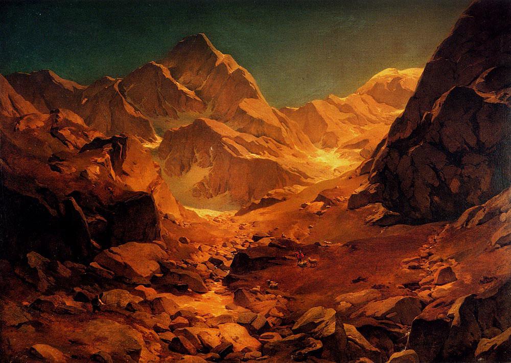 Dağ Manzarası, Teknik: Tuval üzeri yağlıboya, Orijinal Boyut: 100 x 123 cm