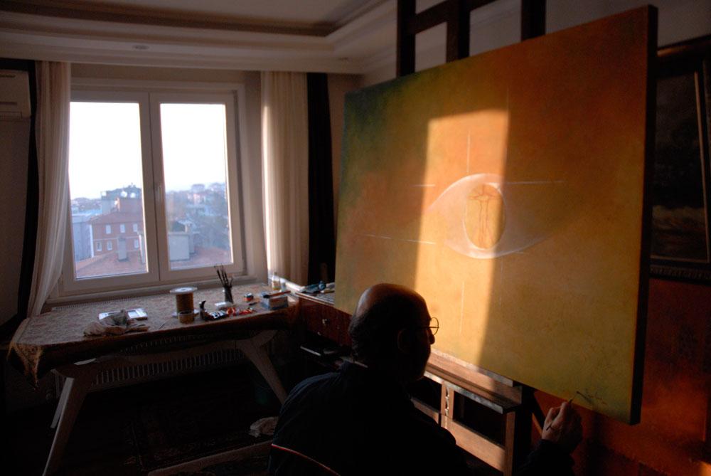 peyami gürel tablonun yapım aşamasından